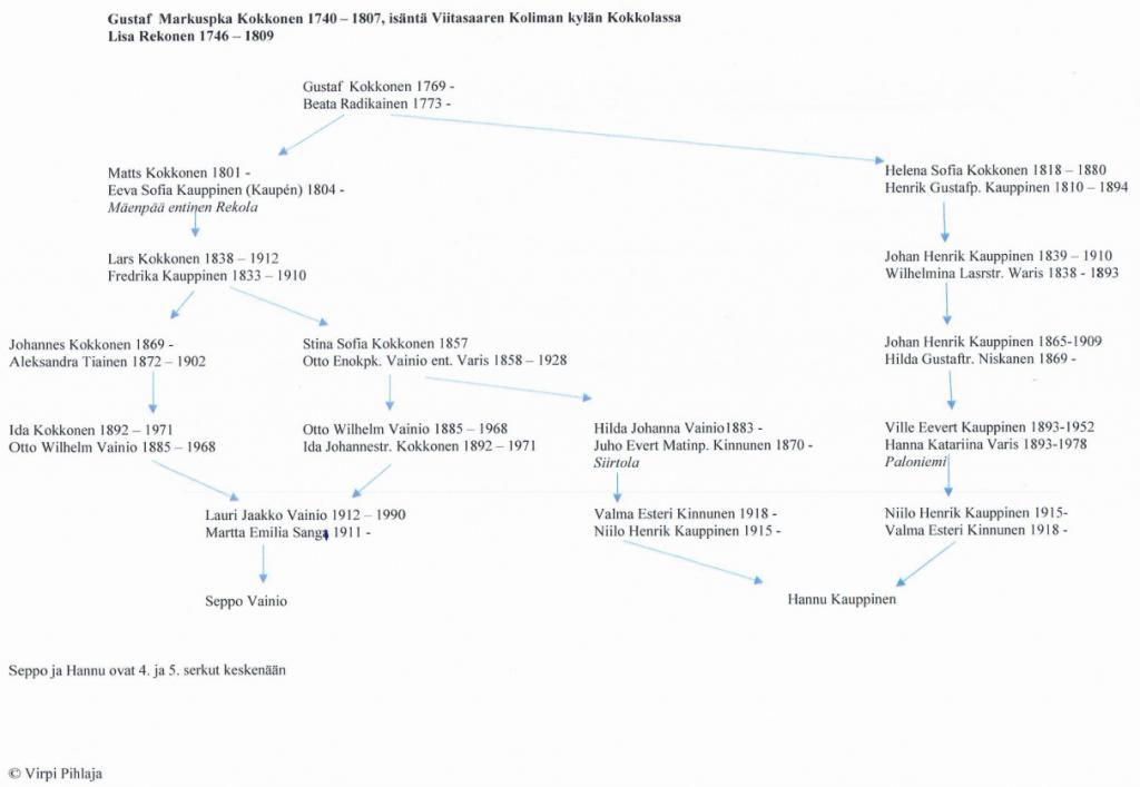 Hannun ja Sepon yhdistetyt sukupuut, joista käy ilmi myös heidän keskinäinen sukulaisuutensa.